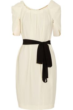 Vionnet Belted Pleated Crepe Dress 