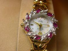 Great Gift Ladies Wrist Watch Jules Jurgensen 7 Diamond 7 Ruby Working NOS w/box #JulesJurgensen #Dress
