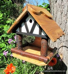 Wooden bird feeder bird house combo functional by MyRetirementGig, To see the complete collection come to www.sadlergardencollections.com