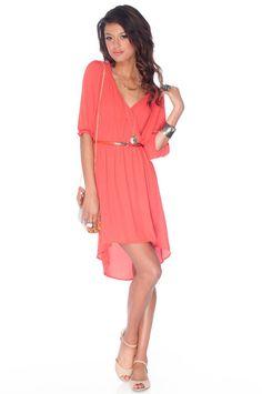 Darling Wrap Dress in Coral :: tobi