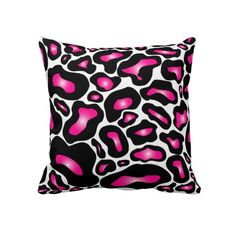 Hot Pink and Black Leopard Cheetah Animal Pillow .......ohhhhh a big leopard on canvas for my bathroom