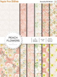 """80% off Entire Shop Digital Paper - Peach Flowers - Instant Download - Digital Artwork by mormonlinkshop  1.00 USD  Digital paper is a bit of a misnomer as no paper is involved! You can use these JPEG versions of 12""""x12"""" papers to create backgrounds photo mattes die-cuts etc. just as you would have used a traditional piece of paper. Of course you're able to use these over and over again no longer will you worry about making the """"wrong cut"""" and wasting your supply. Great for all ages classes…"""