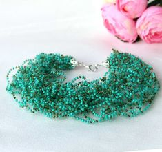 Crocheted Wire Necklace Green fantasy by OlgaMagicalThings on Etsy