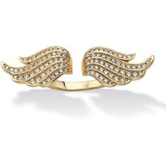 Palmbeach Jewelry .72 Tcw Micro-Pave Cubic Zirconia Adjustable Angel... ($51) ❤ liked on Polyvore featuring jewelry, rings, white, angel wing jewelry, 14k gold plated ring, gold plated jewelry, white gold plated ring and 14k cz rings