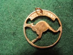 HANDMADE COIN CUT OUT PENDANT AUSTRALIA LARGE PENNY KANGAROO 1950S #Unbranded #Pendant