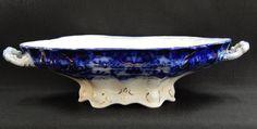 Antique Flow Blue Lakewood Wood & Sons England Oval Vegetable Bowl, Gold Trim #WoodSons