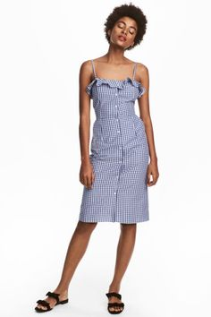 Robe sans manches - Bleu/blanc/carreaux - FEMME | H&M FR