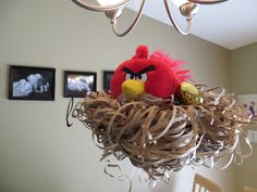 Decorations at an Angry Birds Party, hanging nest for a very angry bird Bird Theme Parties, Bird Birthday Parties, 5th Birthday Party Ideas, Bird Party, Kids Party Themes, Birthday Fun, Birthday Party Decorations, Fourth Birthday, Cumpleaños Angry Birds