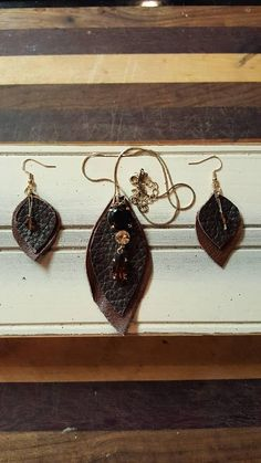 Check out this item in my Etsy shop https://www.etsy.com/listing/565320748/leather-necklace-earring-combo-great