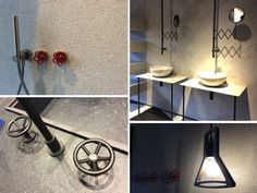 Industrial chic bathrooms, kitchen and lighting