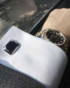 """Enhance power and increase wealth with """"Elite & Luck"""" Black Onyx Sterling Silver Cufflinks, Rhodium plated, Modern Model Available now at www.eliteandluck.com"""