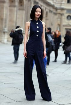 Sleeveless Navy Blue Jumpsuit with Big White Buttons - Photo By:Phil Oh
