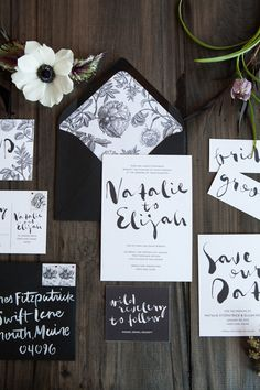Industrial modern winter wedding invitation suite / Parrott Design Studio