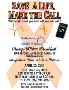 2014 Shelby County Drug Free Coalition Orange Ribbon Breakfast.  Save a Life, Make the Call