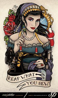 Resultado de imagem para sewing machine tattoo site:tumblr.com