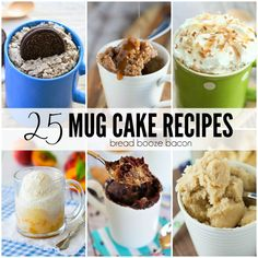 Dessert is my favorite course in any meal, but I don't need an entire cake staring me down after I bake. That's why I love the 25 Mug Cake Recipes. They're the perfect little, single-serving dessert for any occasion. Cinnamon Roll Mug Cake | Triple Coconut Mug Cake|One-Minute Chocolate Peanut Butter Mug Cake| Blueberry Muffin Mug Cake | 2-Minute Pumpkin Coffee Cake in a Mug Cookies N' Cream Mug Cake