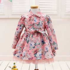 """Pre-order: The """"Abigail"""" Floral Princess Girls Trench Coat in Pink"""