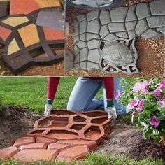 "merlinsgardenmarket: "" DIY Plastic Path Maker Mold Manually Paving Cement Brick Stone Road Auxiliary Tools Use heavy-duty plastic mold that turns a little pre-mixed concrete into a concrete garden stepping stones for easiest access way to your. Concrete Stepping Stone Molds, Stepping Stone Walkways, Concrete Paving, Concrete Molds, Concrete Garden, Paving Diy, Concrete Steps, Brick Pavers, Paver Edging"