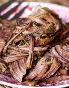 Slow-Cooked Italian Red Wine Roast Beef Recipe - get the recipe at barefeetinthekitchen.com