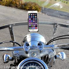 eCaddy Diamond Mount on a windshield. Form-fitted cradle so the iPhone will never fall out. Ultra-Swivel on back so you can adjust angle. Mount vertical or horizontal. Fits many makes/models of motorcycle! http://www.leadermotorcycle.com/windshield-mounts