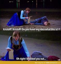 """Do you have any idea what this is! Oh right I knocked you out…"""" Anna was brilliant in OUAT :) Abc Shows, Best Tv Shows, Best Shows Ever, Favorite Tv Shows, Movies And Tv Shows, Once Upon A Time Funny, Once Up A Time, Narnia, Funny Memes"""