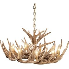 Cabela's 12-Antler Cascade Reproduction Whitetail Antler Chandelier $399 sale price - spray white (do a search for white deer antler chandelier and they are pretty costly - one was $1400...much cheaper to buy and spray)