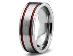 Red Tungsten Ring Red Men Tungsten Rings Red by GiftFlavors