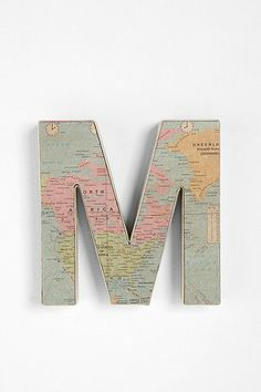 "Put your little one on the map with this map letter from @Urban Outfitters ! Love these map letters for my Dane's ""Travel"" themed room."