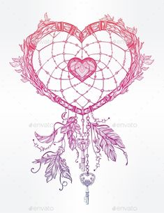 Heart Shaped Dream Catcher With Feathers.,art, boho, catcher, decorative, design, dream, ethnic, fashion, feather, graphic, heart, hippie, illustration, indian, invitation, isolated, love, magic, native, ornament, print, romantic, symbol, tattoo, tribal, valentine, valentines, valentines day, vector, vintage