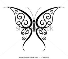 stock vector : Abstract fantasy butterfly tattoo (Vector)