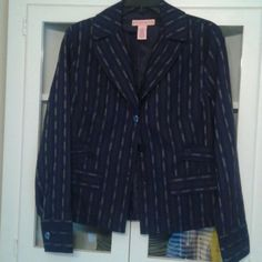 """Navy blazer Sz 10 EUC. No signs of wear. Fully lined. Navy blue with blue buttons throughout. Slight """"pinstripe """" pattern with cream colored yarn. Easy to dress up or down. Bandolino Jackets & Coats Blazers"""