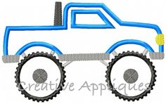 Monster Truck Applique Embroidery Design