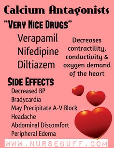 Calcium Antagonists are anti-hypertensive drugs that act by disrupting the movement of calcium through calcium channels to decrease contractility and conductivity of the heart thereby reducing oxygen demand and blood pressure. There are three commonly used calcium antagonists – Verapamil, Nifedipine and Diltiazem. In using these drugs, watch out for side-effects like hypotension, bradycardia, AV block, abdominal discomfort and peripheral edema.