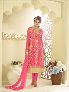 http://tinyurl.com/hmk9sab Buy Online AASHIRWAD CREATION Pink Georgette Net Santoon Nazneen Salwar Suits only on GetAbhi.com