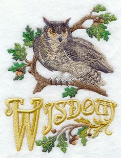 Owl of Wisdom embroidery pattern #crafts