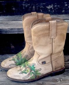 Vintage Justin Roper Mid Calf Boots Tan Leather Hand Painted Leaf Design 7.5B in Clothing, Shoes & Accessories, Women's Shoes, Boots | eBay