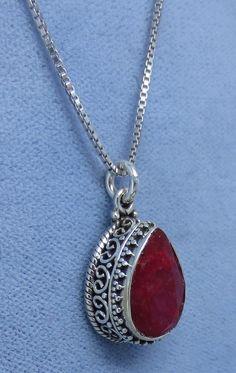 Dainty Genuine Ruby Necklace - Sterling Silver - Vintage Victorian Filigree Design - Pear Shape - R171236