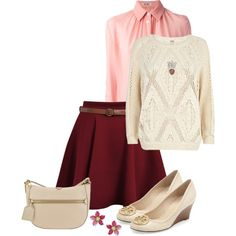 """Skater Skirt Outfit"" by mozeemo on Polyvore"