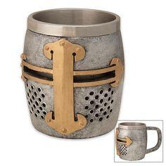 Crusader Helm Coffee Mug.  I know someone who wood like this one.