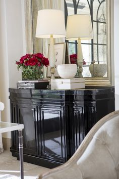 Amadeo Buffet by Ebanista - Black polish lacquer. Black marble top. Discover more at https://www.ebanista.com.