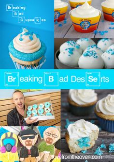Breaking Bad Party Themed Desserts I should do this for my husbands Big 30 Breaking Bad Birthday, Breaking Bad Party, My Favorite Food, Favorite Recipes, My Favorite Things, Breaking Bad Cupcakes, Braking Bad, Delicious Desserts, Yummy Food