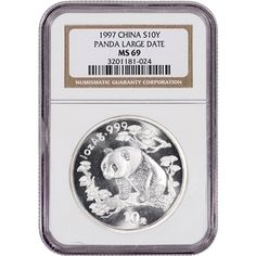 1997 China Silver Panda (1 oz) 10 Yuan - Large Date - NGC MS69