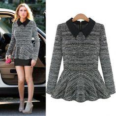 Womens Peter Pan Collar Zipper Long Sleeve Knitting Tops Blouse Sweater B9149