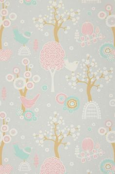 """Majvillan Wallpaper Company brings us this grey children's wallpaper """"Cherry Valley"""" where little birds sit on sweet dreams in a valley of flowers Non-Woven Wallpaper (paste the wall) Washable & Eco-Friendly Roll Size: x Repeat: Straight Match"""