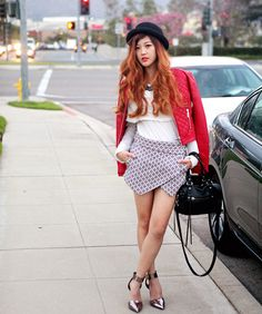 All Saints White Shirt, Zara Jacquard Skort, Steve Madden Infringe, Bebe Quilted Crop Jacket