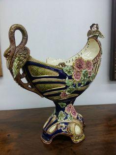 Eichwald Austria Majolika Pottery Jugendstil Art Nouveau Keramik Jardiniere