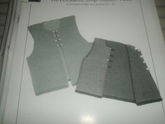 """*28 Reversible Slip Stitch Vest - $1.00 plus postage (1 available) Sizes: 32 - 44. Finished Chest Measurements: 34"""" - 46"""". Needles: #6 and #7 924"""") circular needles, C crochet hook and 16 5/8"""" buttons. Gauge: 5 sts = 1 inch on #7 needles in woven slip stitch pattern."""