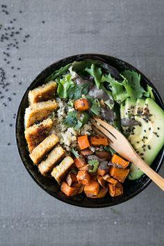 Orange-Ginger Tempeh Bowl + Black Sesame Sauce (Vegan & Gluten-Free) by The…