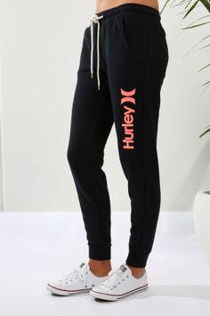 Hurley - Cuffed Track Pant Black Coral Logo $69.99 Shop ll http://www.jeanjail.com.au/hurley-cuffed-track-pant-black-coral-logo.htm