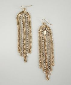 Kenneth Jay Lane gold plate chain and crystal chandelier earrings